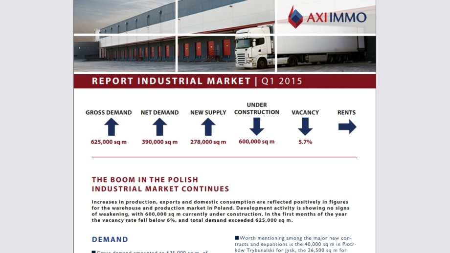 Report: Industrial market in the 1Q 2015 developed by AXI IMMO