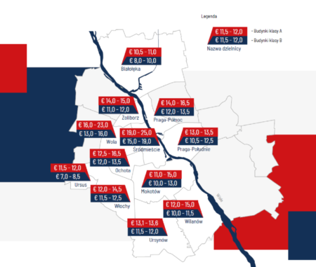 Warsaw map - headline rents in districts